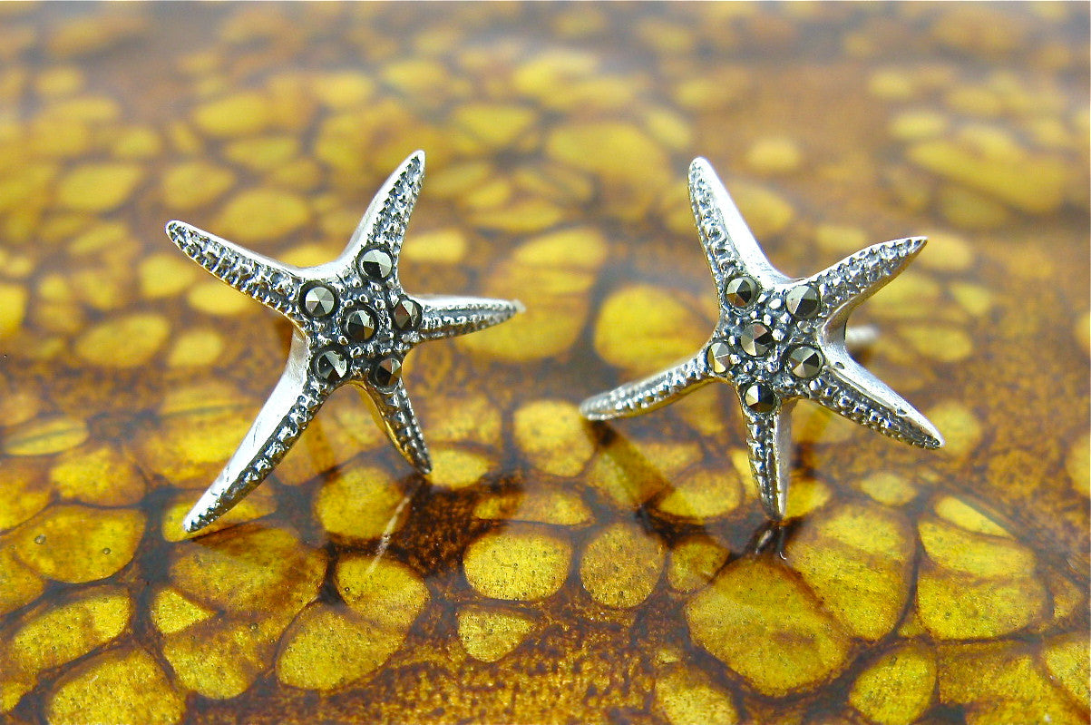 Starfish Marcasite 925 Sterling Silver Stud Earrings
