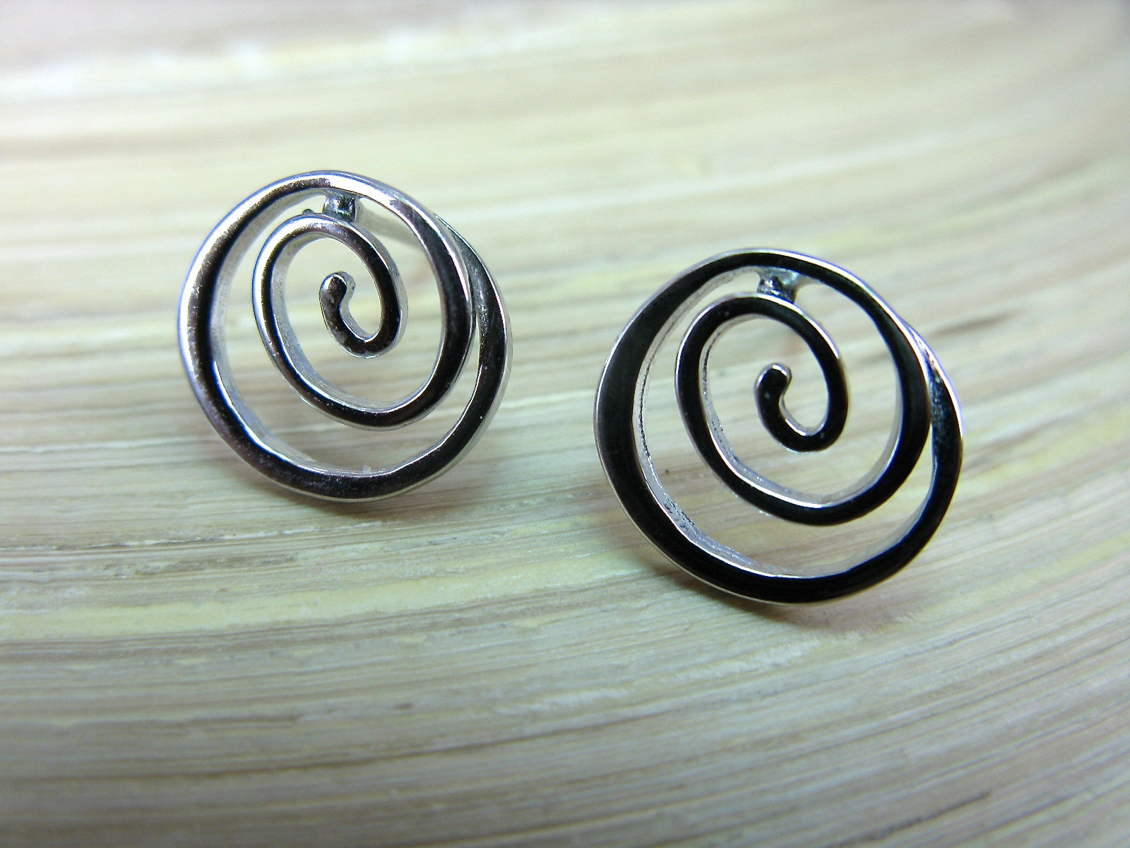 Swirl Spiral Round 925 Sterling Silver Stud Earrings Stud Faith Owl - Faith Owl