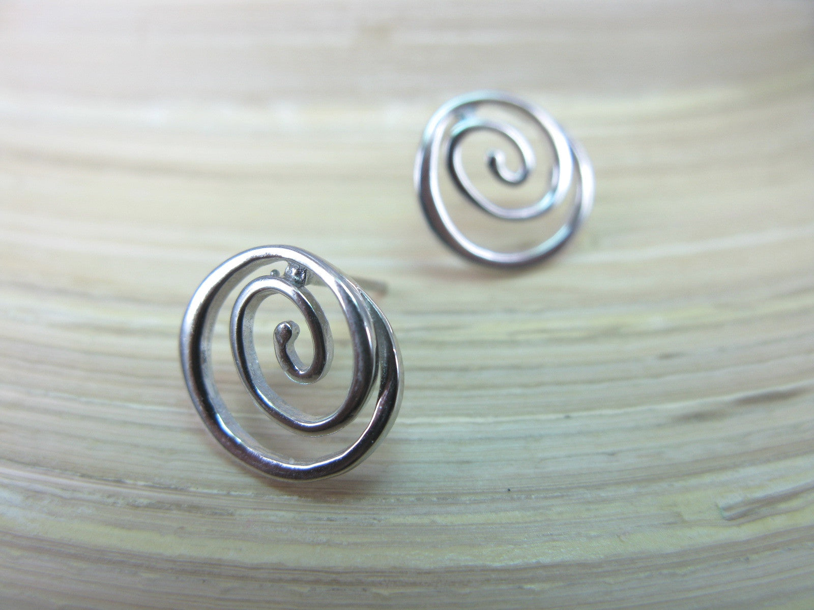 Swirl Spiral Round 925 Sterling Silver Stud Earrings