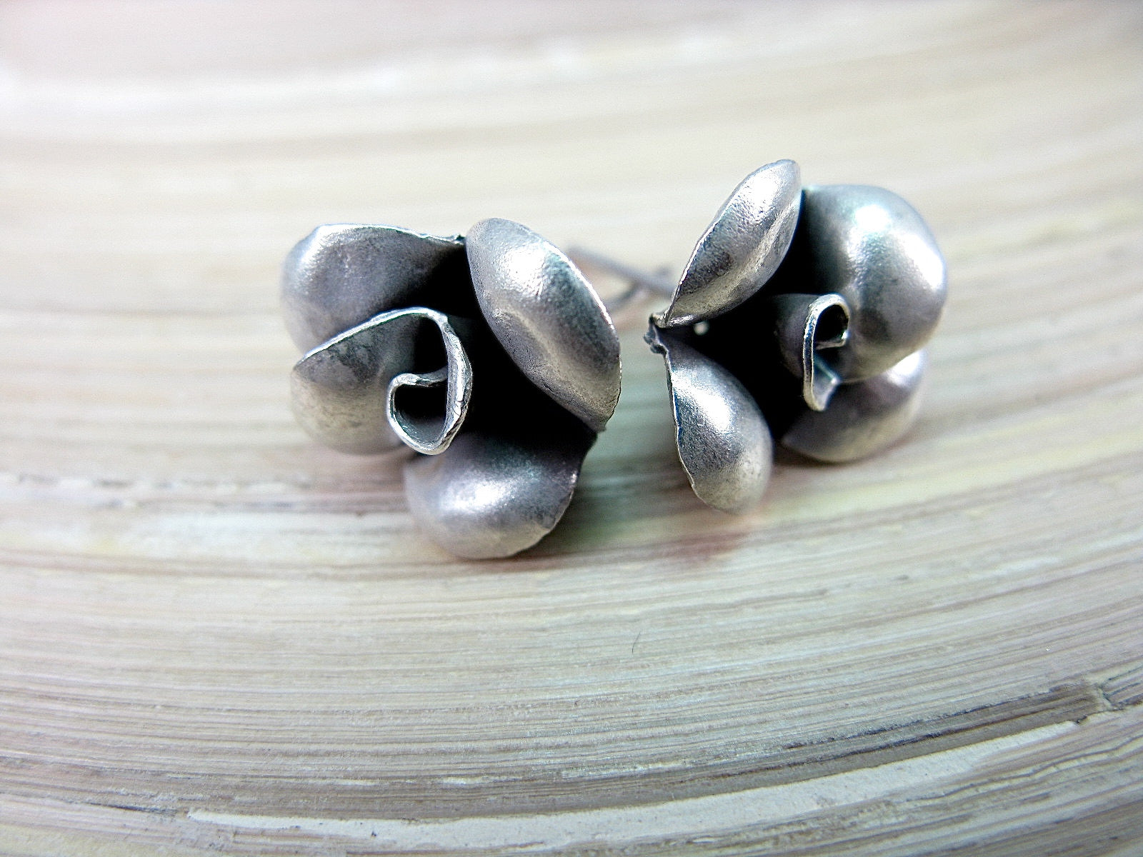 Rose Flower Tribal Oxidized 925 Sterling Silver Stud Earrings Stud Faith Owl - Faith Owl