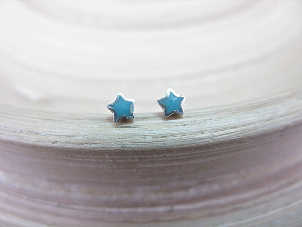 Turquoise Star Tiny Minimalist Stud Earrings in 925 Sterling Silver Stud Faith Owl - Faith Owl