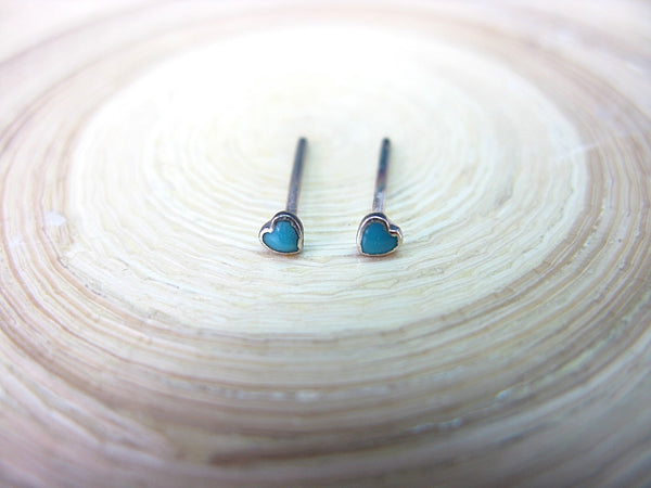 Turquoise Heart Minimalist Stud Earrings in 925 Sterling Silver Stud Faith Owl - Faith Owl