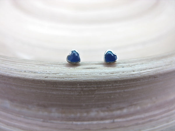 Lapis Lazuli Heart Tiny Minimalist Stud Earrings in 925 Sterling Silver Stud Faith Owl - Faith Owl