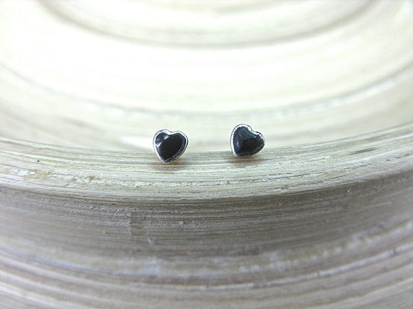 Onyx Heart Tiny Minimalist Stud Earrings in 925 Sterling Silver Stud Faith Owl - Faith Owl