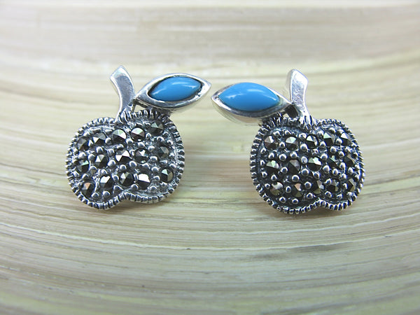 Apple Turquoise Marcasite 925 Sterling Silver Earrings Stud Stud - Faith Owl