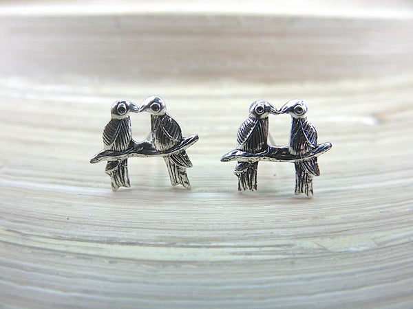 2 Kissing Birds Stud Earrigns 925 Sterling Silver Stud - Faith Owl