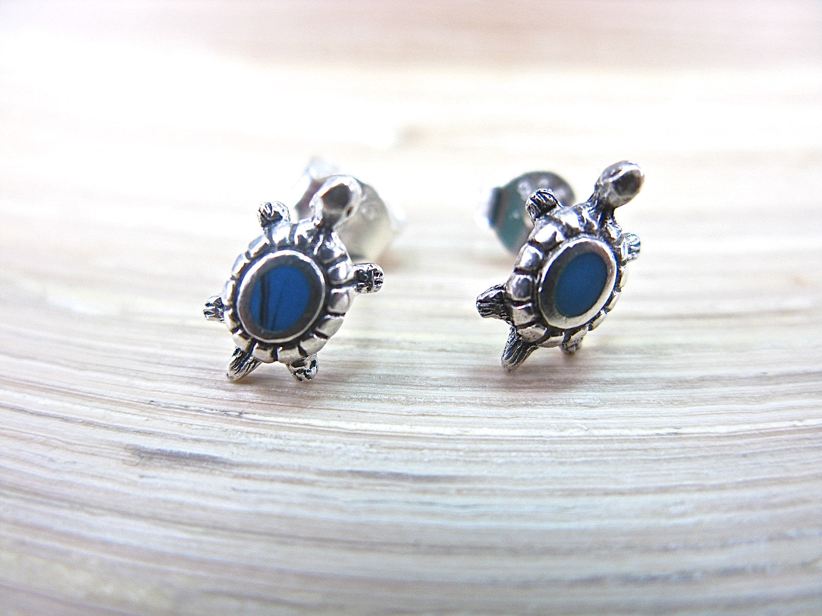 Turtle Turquoise Stud Earrings in 925 Sterling Silver