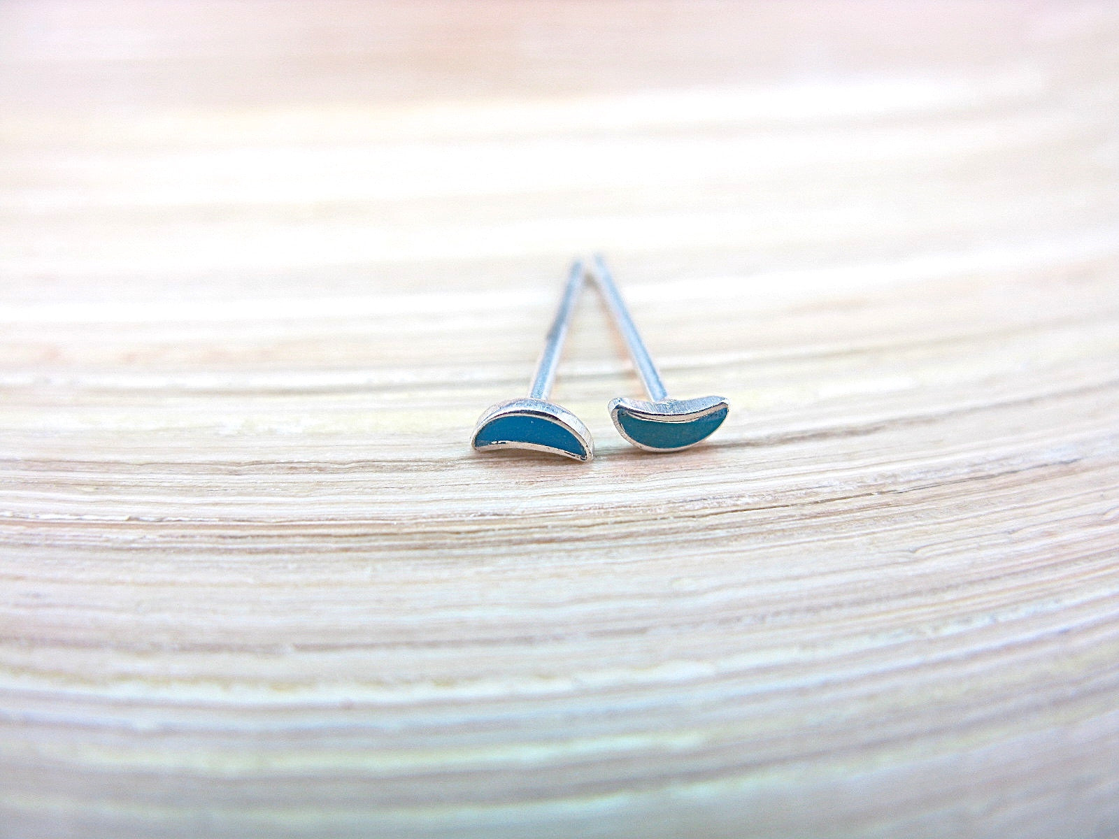 Turquoise Crescent Moon Stud Earrings in 925 Sterling Silver Stud Faith Owl - Faith Owl