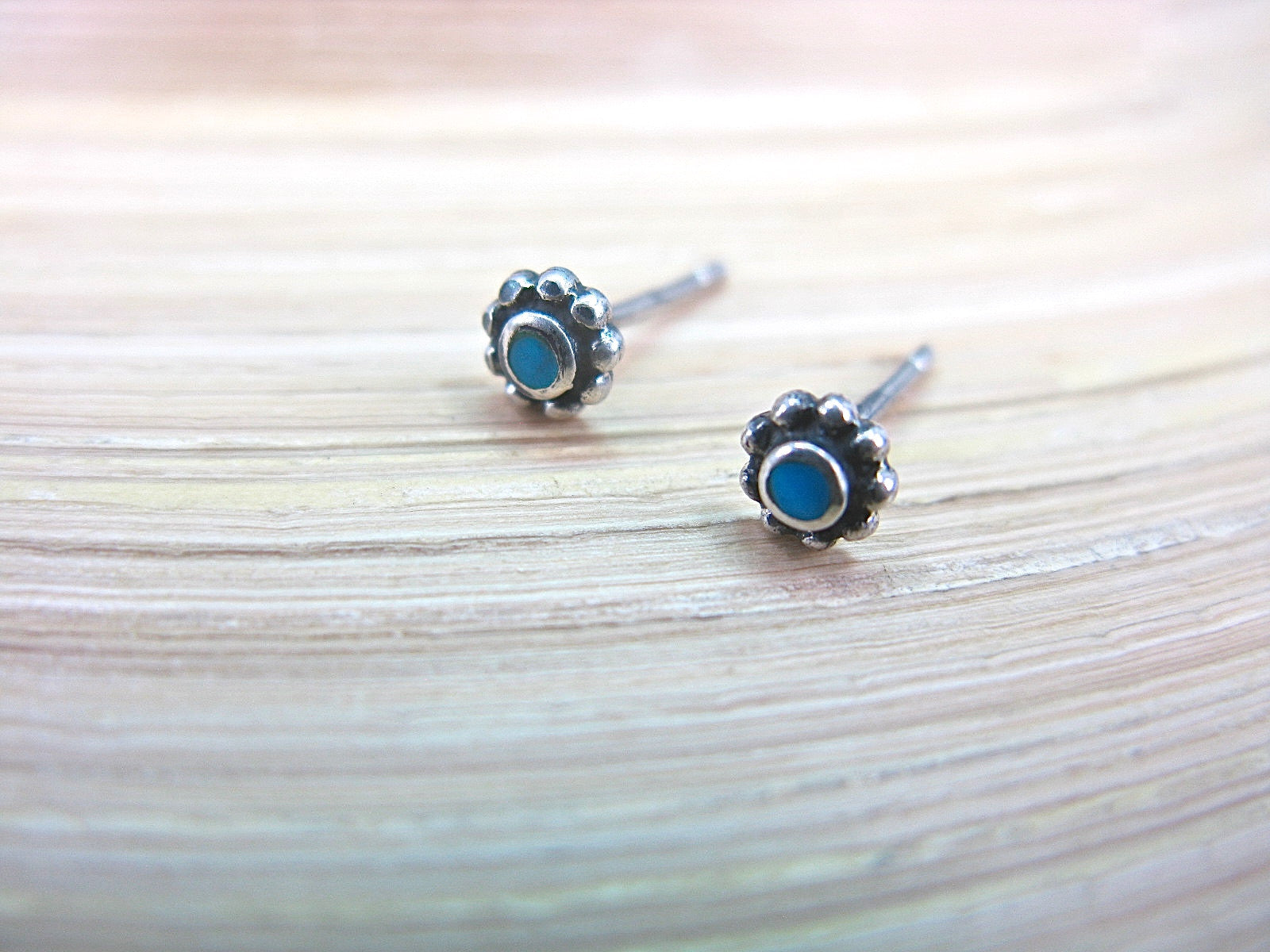 Turquoise 5mm Round Stud Earrings in 925 Sterling Silver Stud Faith Owl - Faith Owl