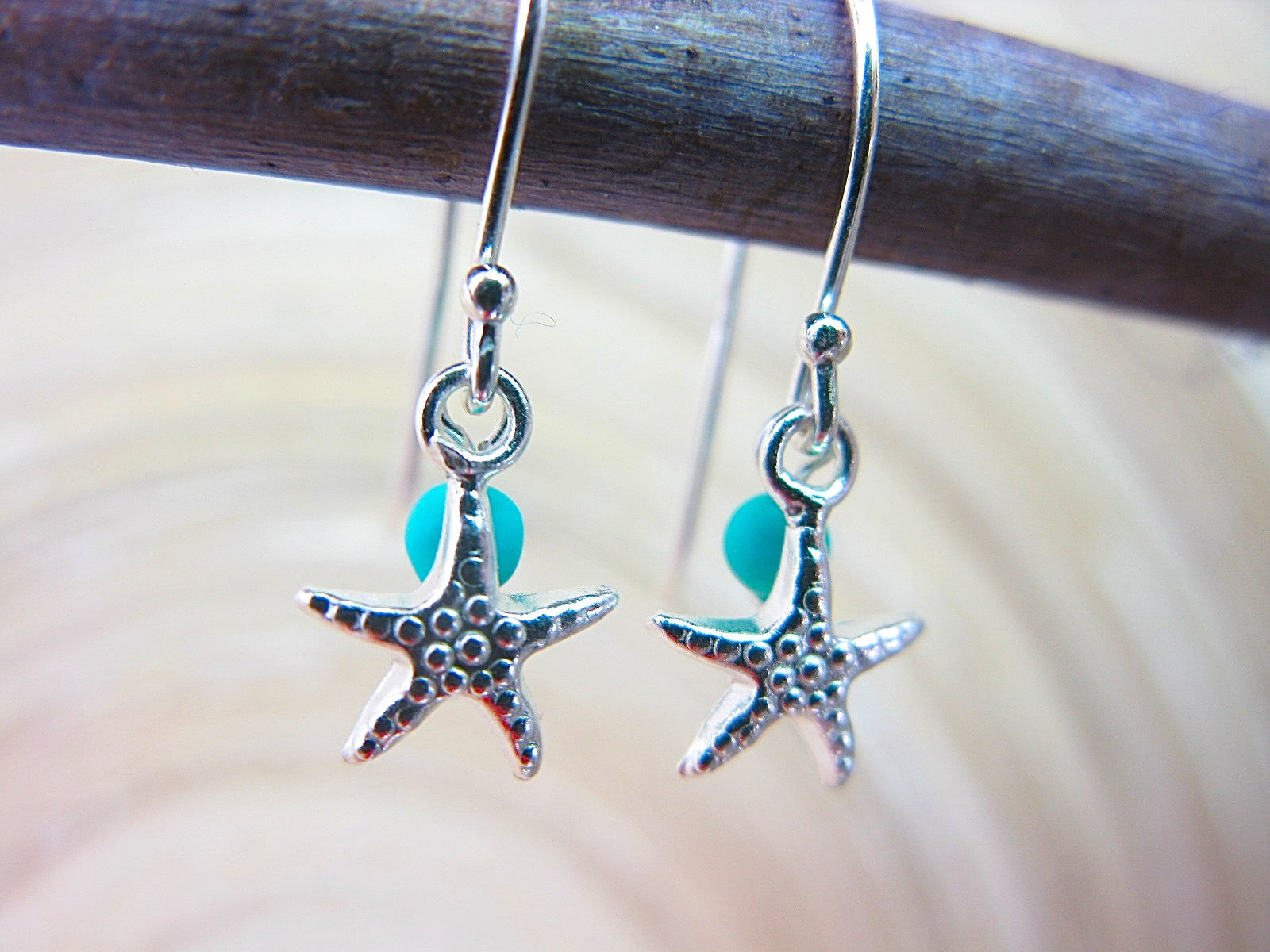 Star Turquoise Dangle 925 Sterling Silver Earrings