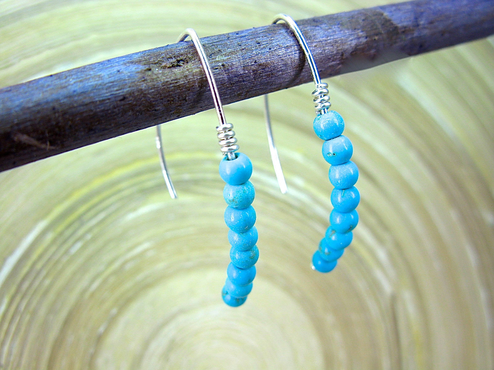 Turquoise Bead Line 925 Sterling Silver Ear Wire Earrings