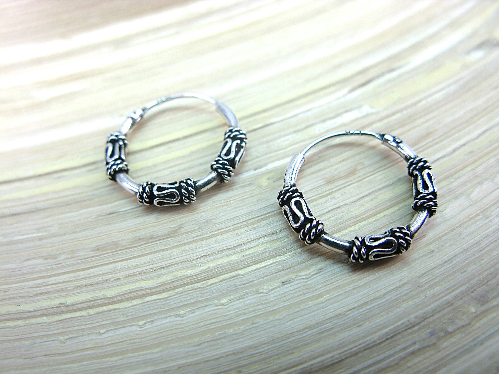 Balinese 14mm Round Oxidized 925 Sterlings Silve Hoop Earrings Earrings - Faith Owl