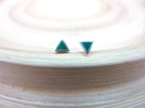 Malachite 3mm Tiny Stud Earrings in 925 Sterling Silver Stud Faith Owl - Faith Owl