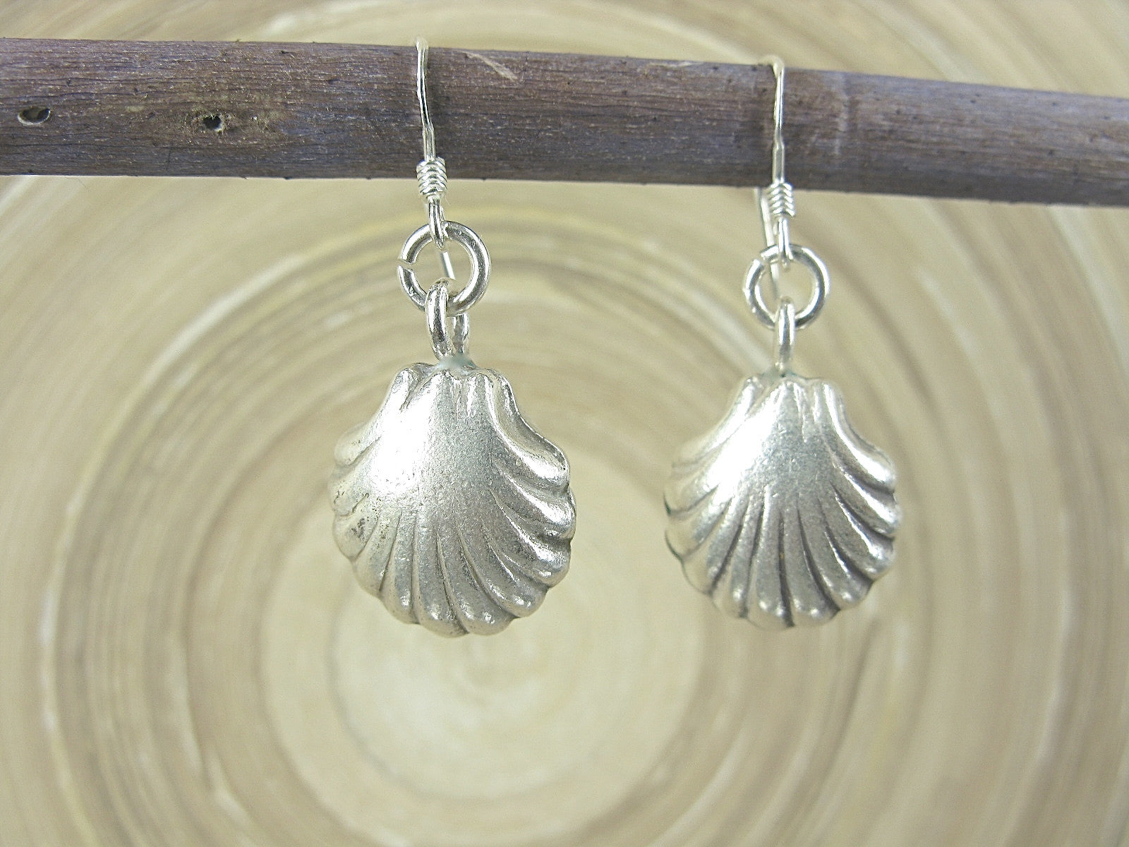 3D Shell Shaped Tribal Dangle 925 Sterling Silver Earrings
