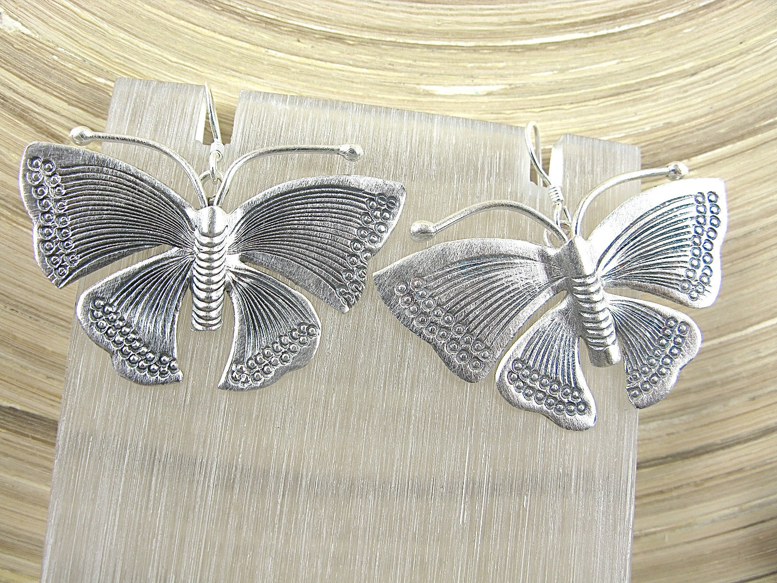 Large Butterfly Tribal Dangle 925 Sterling Silver Earrings Earrings Faith Owl - Faith Owl