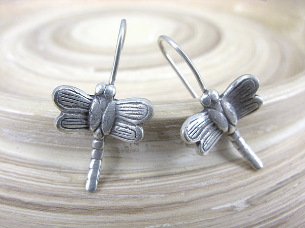 Dragonfly Tribal 925 Sterling Silver Ear Wire Earrings Earrings - Faith Owl