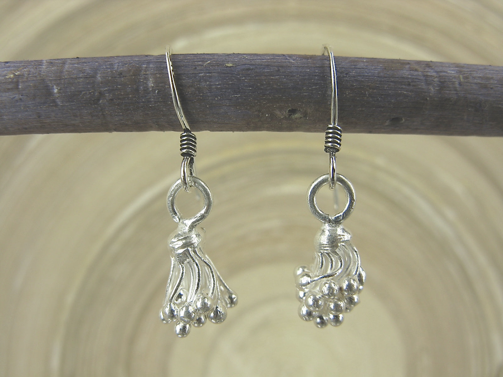 Lotus Flower Tribal Matte Ear Wire Earrings In 925 Sterling Silver