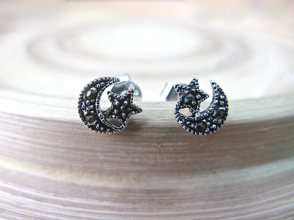 Crescent Moon Star Marcastier Earrings Stud in 925 Sterling Silver Stud - Faith Owl