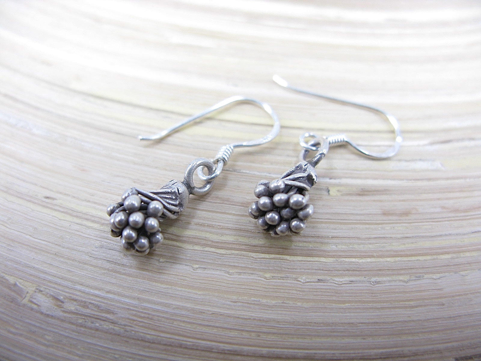 Lotus Flower Tribal Oxidized 925 Sterling Silver Ear Wire Earrings