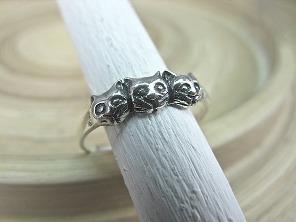 3 Cats Ring Sterling Silver Ring - Faith Owl