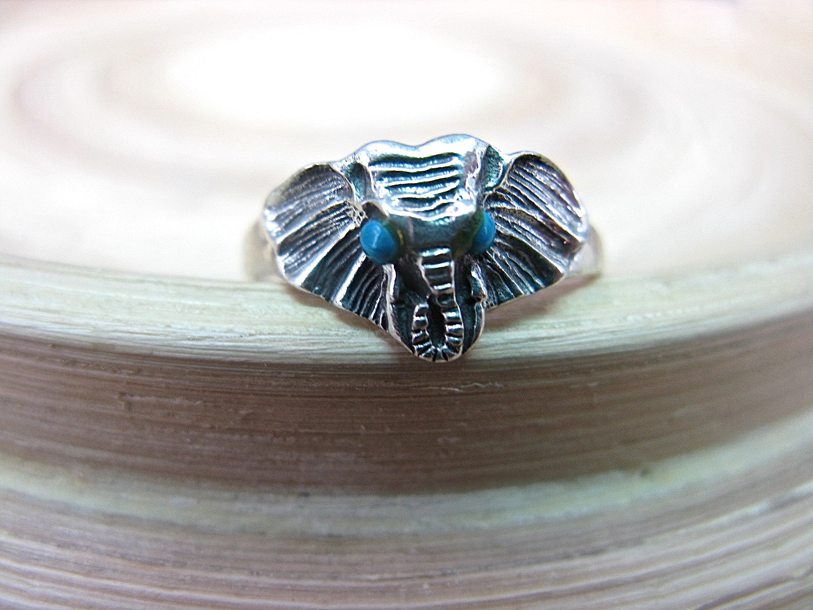 Elephant Turquoise Ring in 925 Sterling Silver Ring - Faith Owl