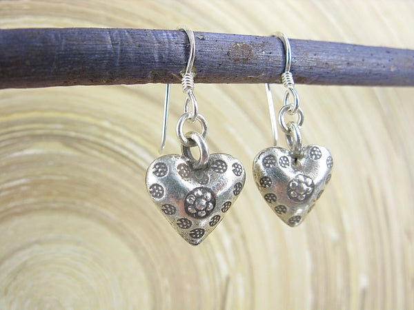 3D Heart Tribal Engrave Oxidized 925 Sterling Silver Earrings Earrings - Faith Owl