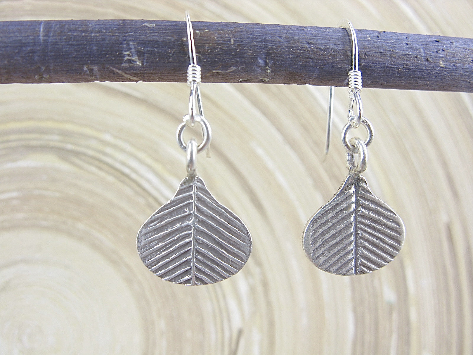 Leaf Fan Tribal Dangle 925 Sterling Silver Earrings Earrings - Faith Owl