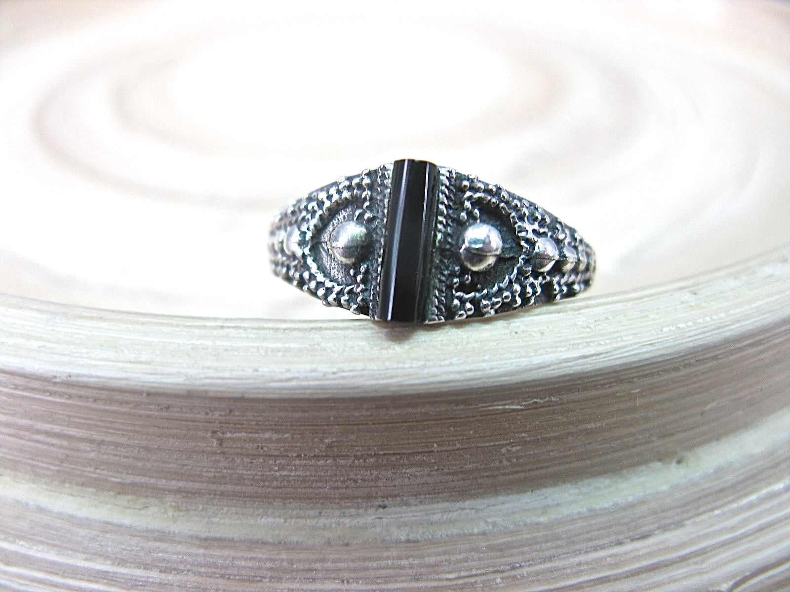 Onyx Bar Ring in 925 Sterling Silver Ring Faith Owl - Faith Owl