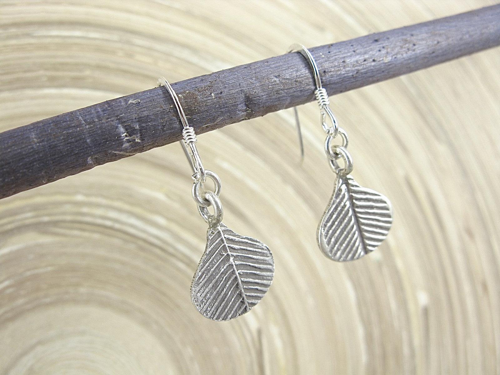 Leaf Fan Tribal Dangle 925 Sterling Silver Earrings Earrings Faith Owl - Faith Owl