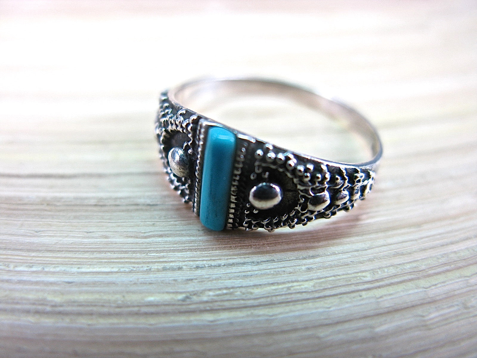 Turquoise Bar Ring in 925 Sterling Silver Ring Faith Owl - Faith Owl
