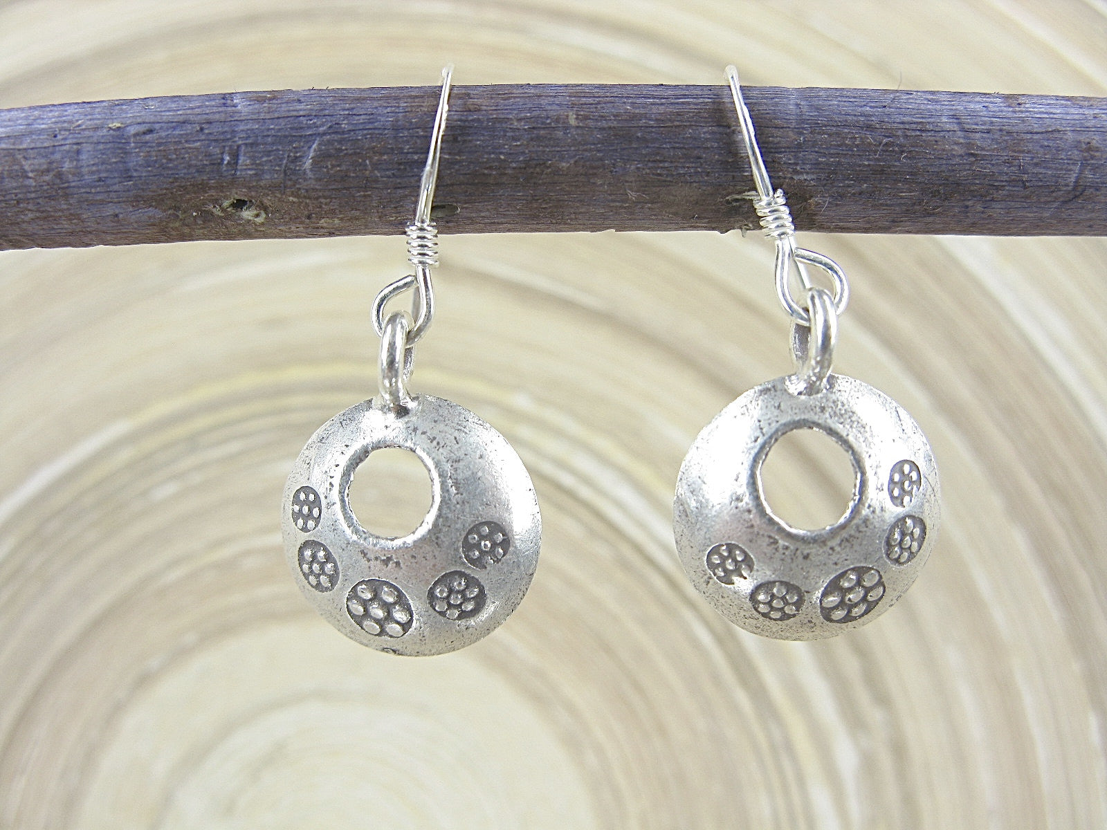 Round Disc Tribal Engrave Dangle 925 Sterling Silver Earrings Earrings Faith Owl - Faith Owl