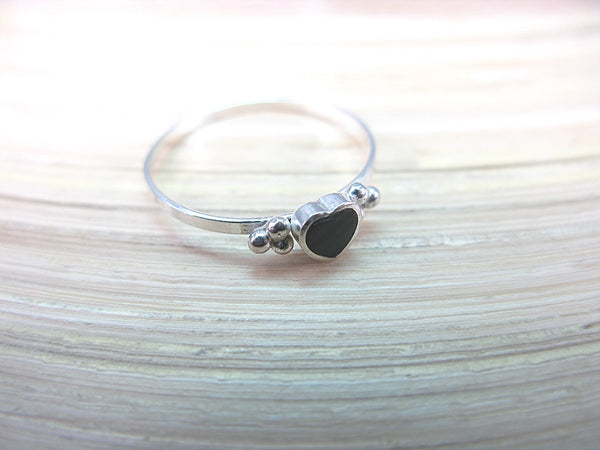 Onyx Heart Ring Minimalist Jewlery in 925 Sterling Silver Ring Faith Owl - Faith Owl