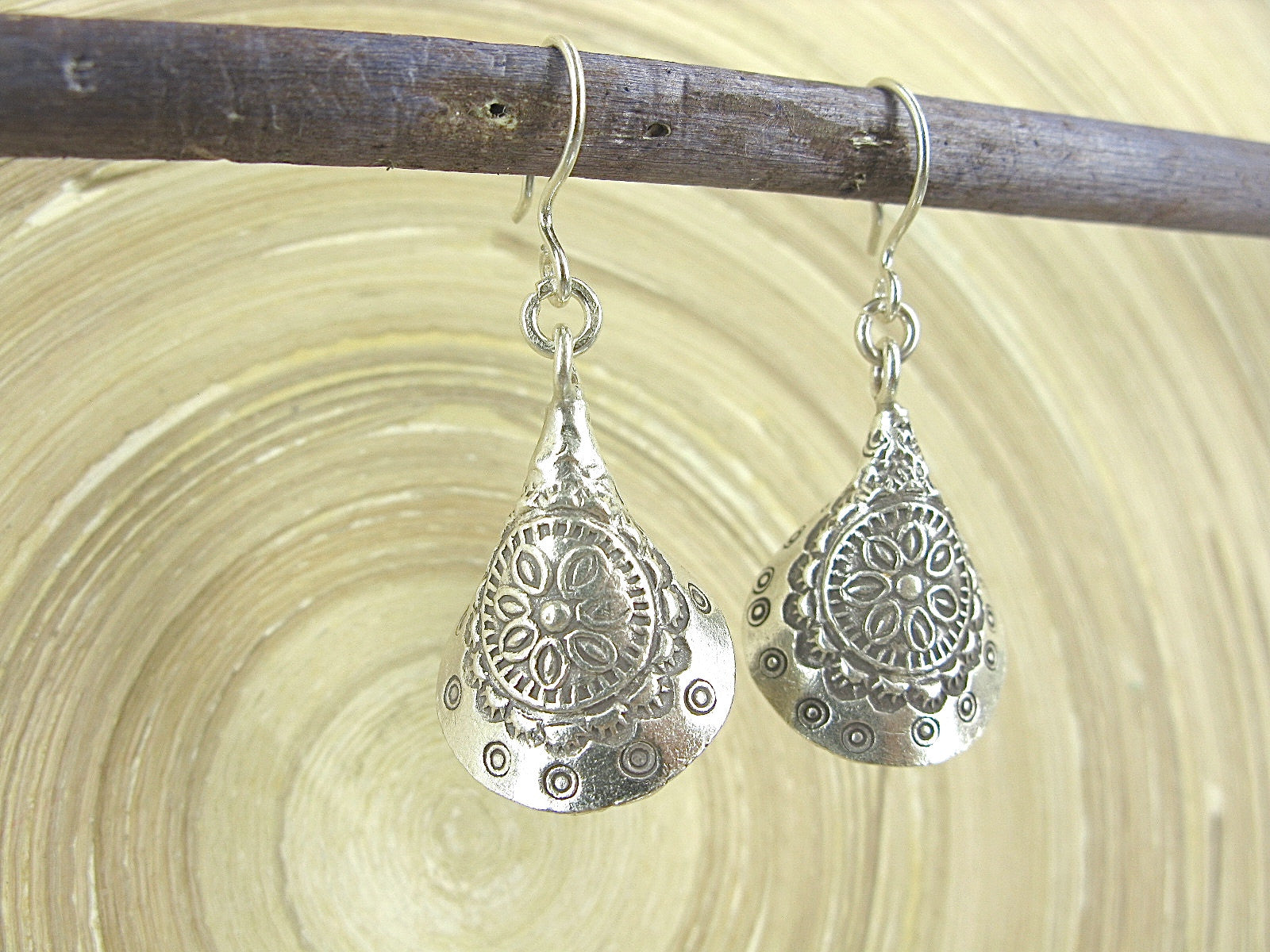 Engrave Tribal Dangle Oxidized 925 Sterling Silver Earrings Earrings Faith Owl - Faith Owl