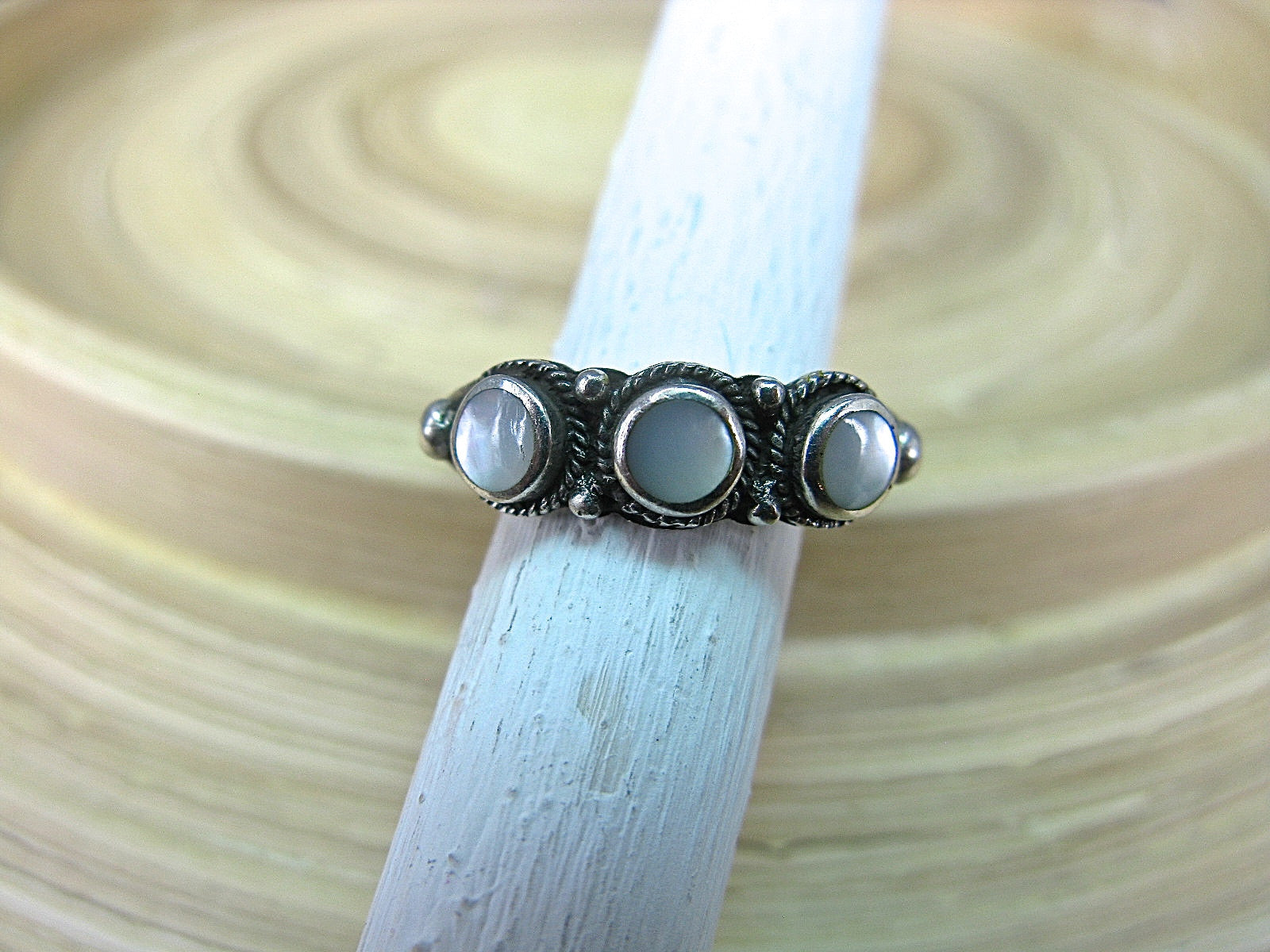 Mother of Pearl Ring Gemstone Jewelry in 925 Sterling Silver Ring Faith Owl - Faith Owl