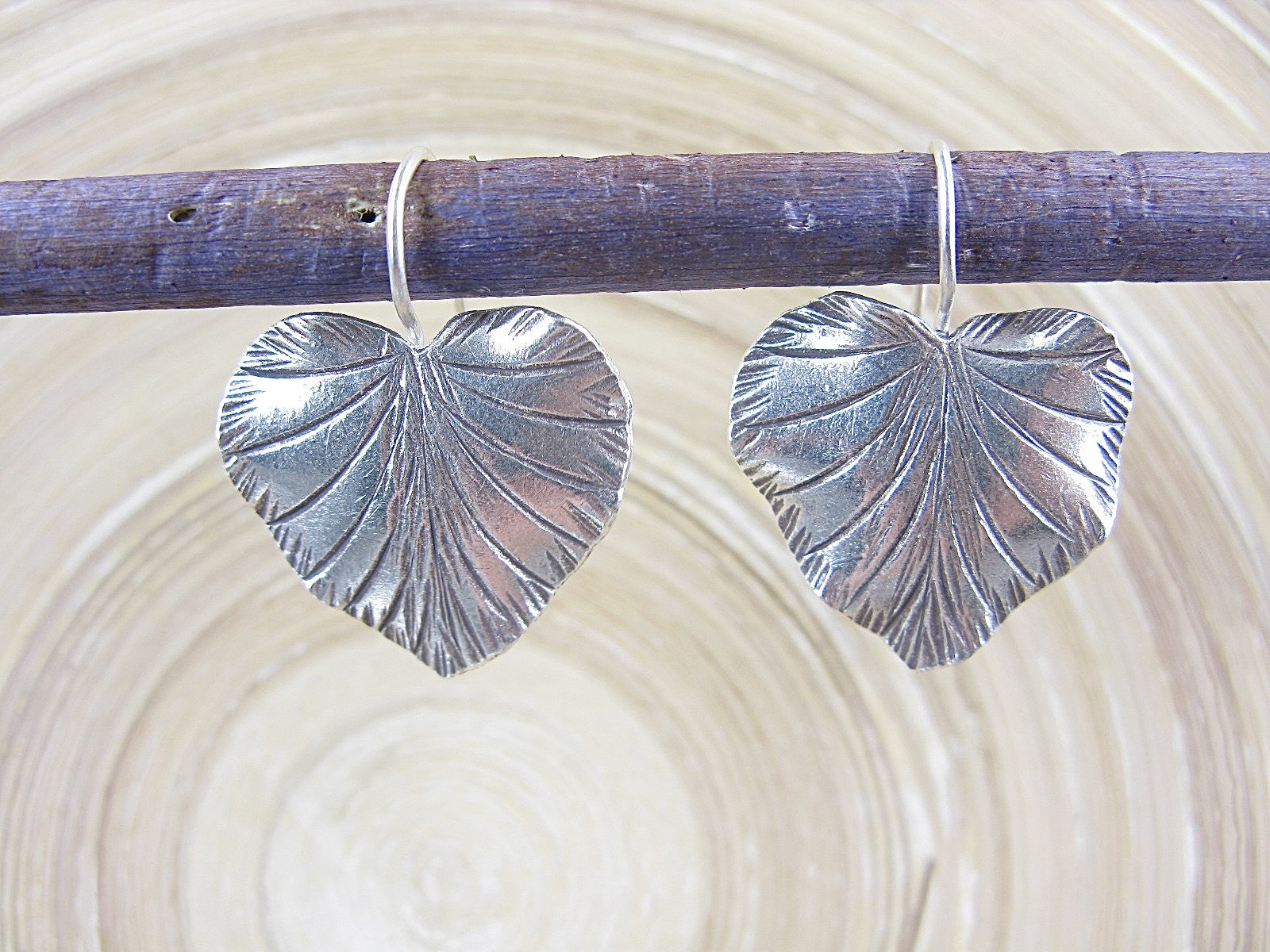 Large Leaf Tribal 925 Sterling Silver Ear Wire Earrings Earrings - Faith Owl