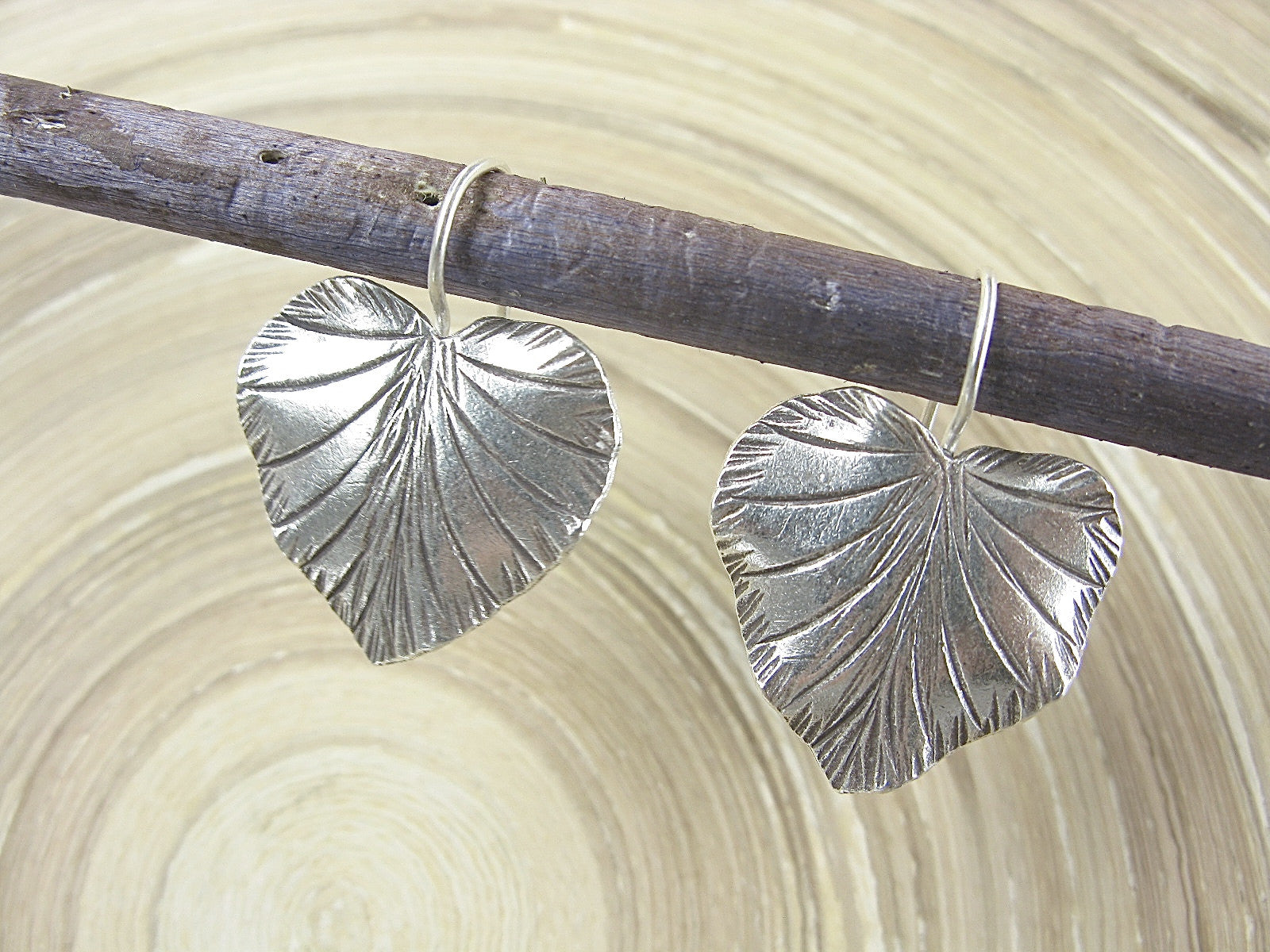 Large Leaf Tribal 925 Sterling Silver Ear Wire Earrings Earrings Faith Owl - Faith Owl
