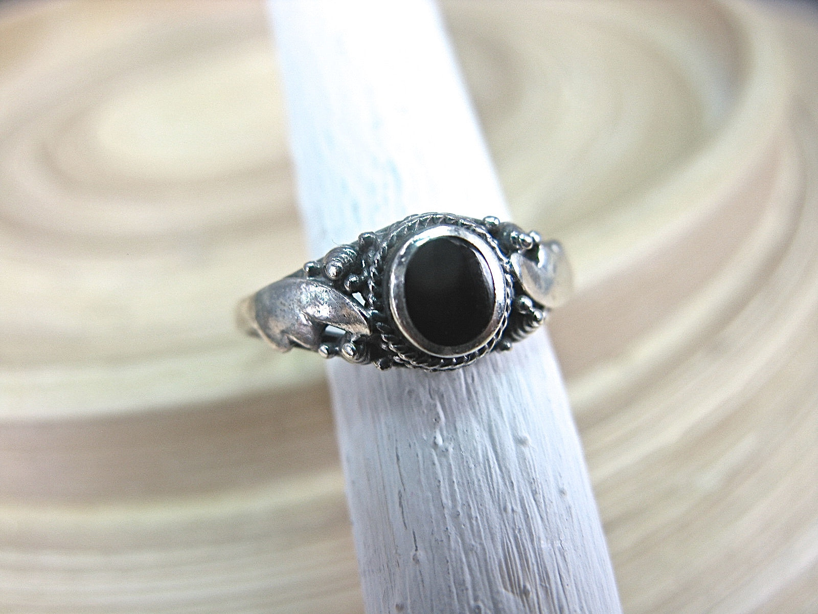 Onyx Ring Bohemian Jewelry in 925 Sterling Silver Ring Faith Owl - Faith Owl