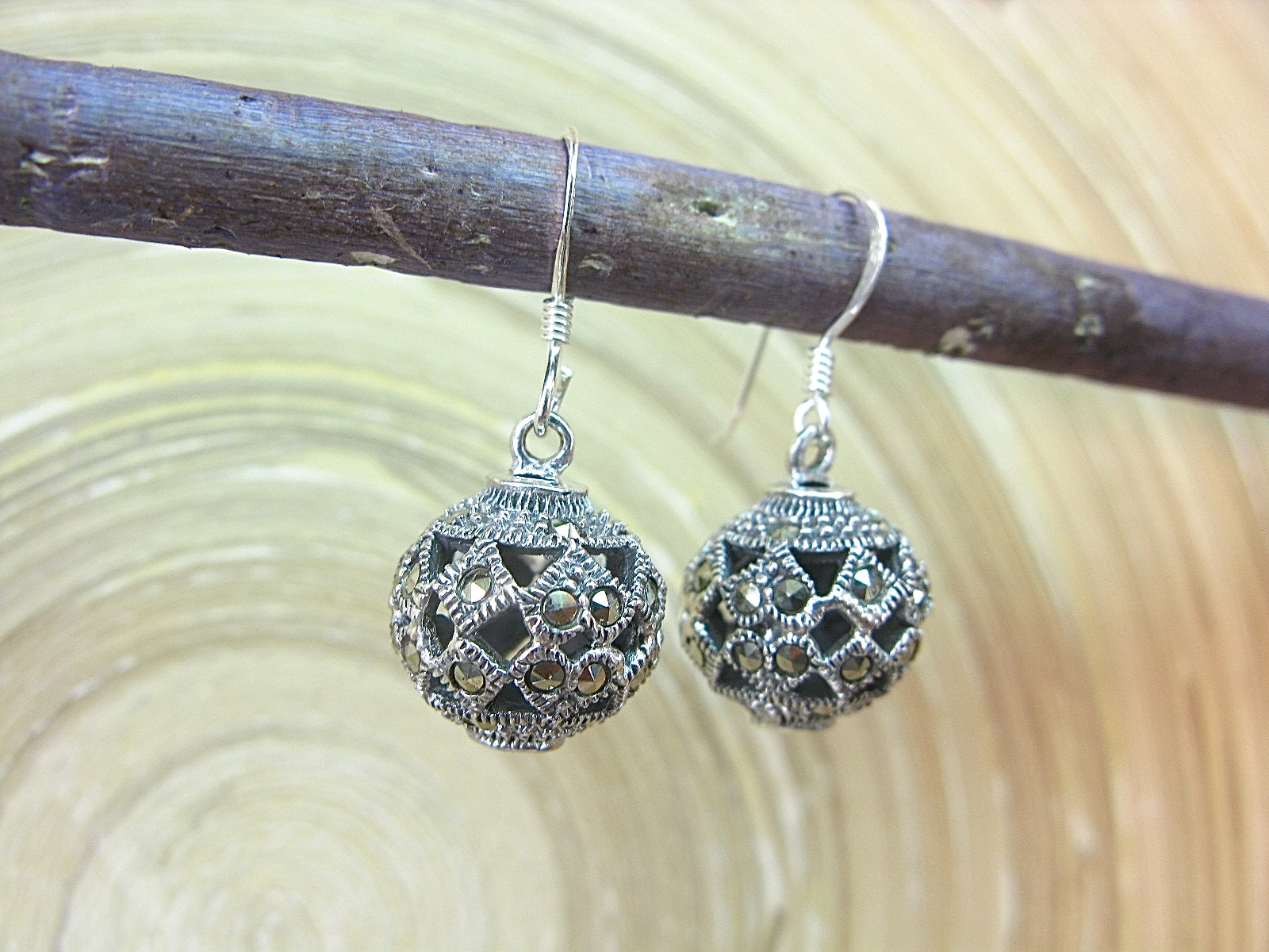 Ball Marcasite Filigree Earrings in 925 Sterling Silver