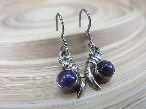 Amethyst Dangle Oxidized 925 Sterling Silver Earrings Earrings - Faith Owl