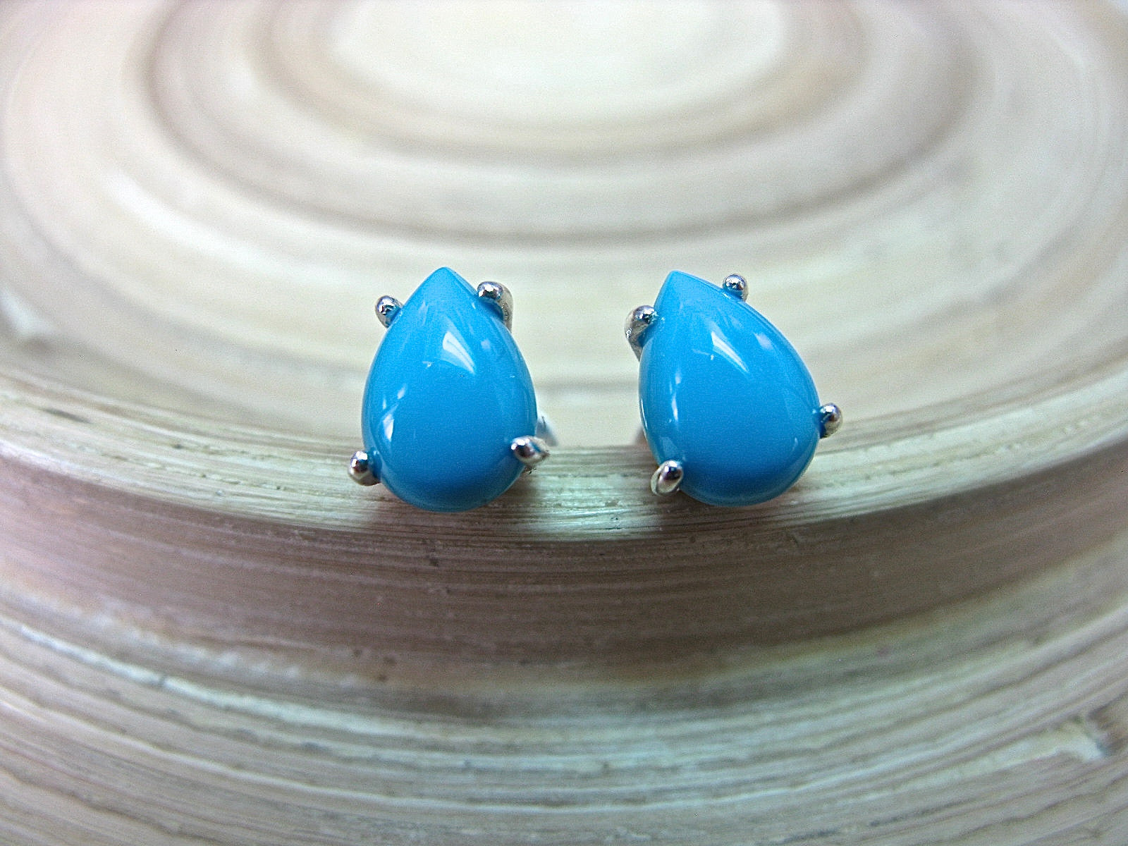 Turquoise Tear Drop Stud Earrings in 925 Sterling Silver Stud Faith Owl - Faith Owl