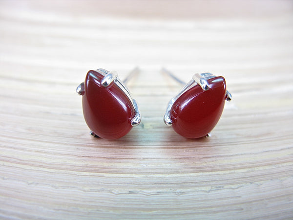 Carnelian Tear Drop Stud Earrings in 925 Sterling Silver Stud - Faith Owl