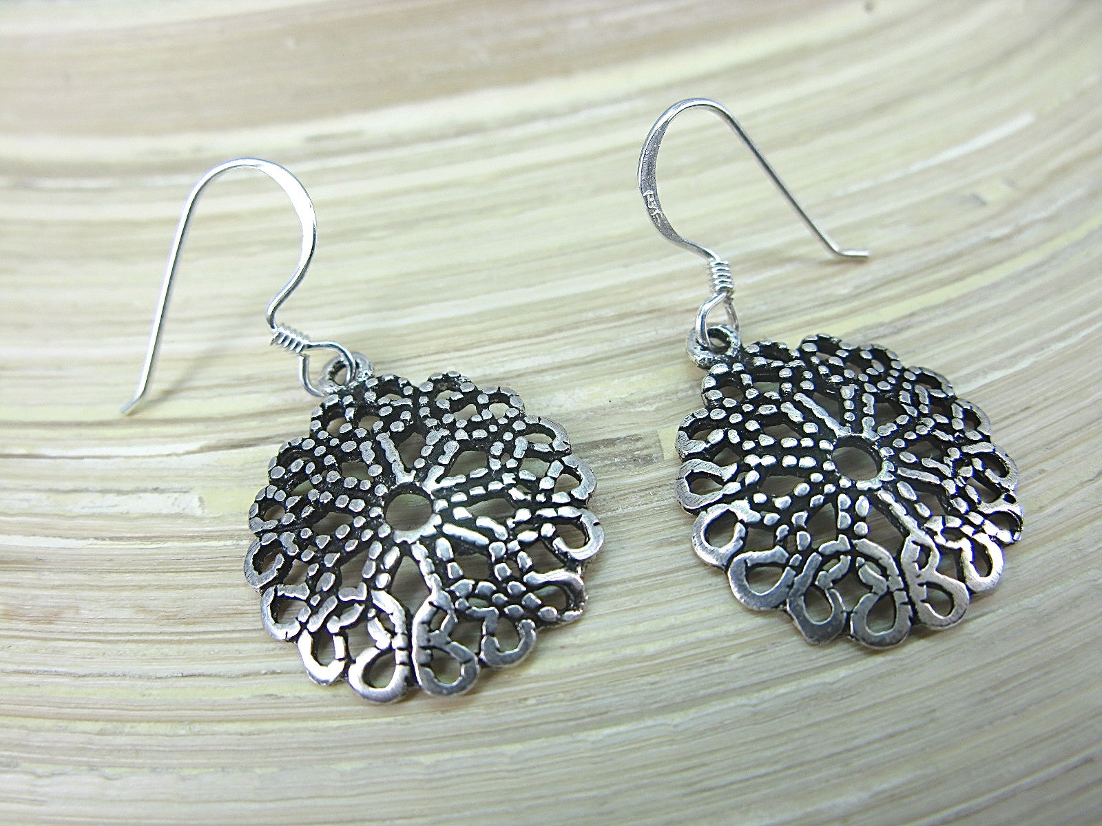 Filigree Tribal Round Oxidized Dangle 925 Sterling Silver Earrings Earrings - Faith Owl