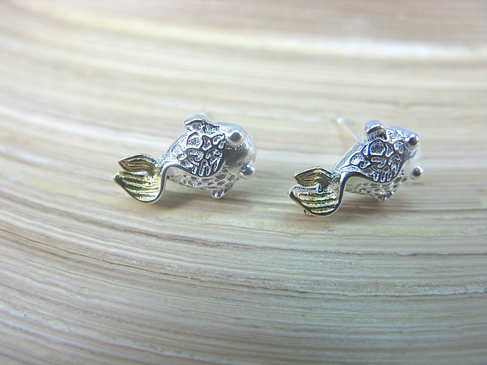 Goldfish Stud Earrings in 925 Sterling Silver Stud Faith Owl - Faith Owl