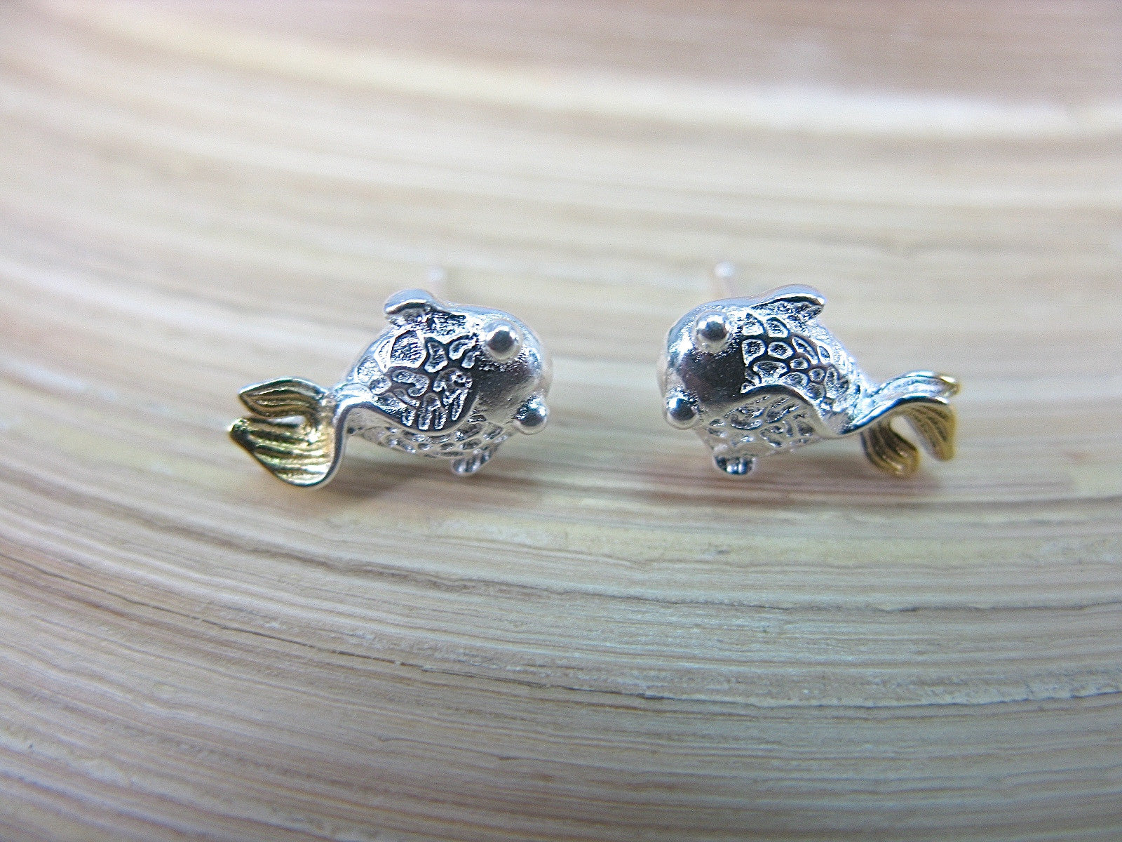 Goldfish Stud Earrings in 925 Sterling Silver Stud - Faith Owl