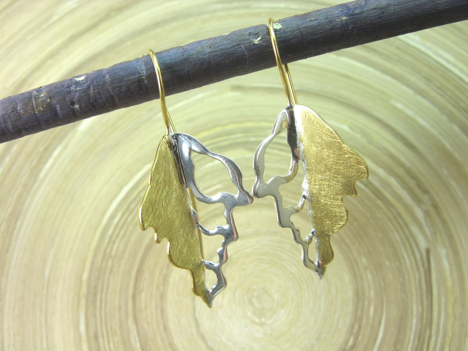 Leaf Filigree Gold Plated 925 Sterling Silver Long Ear Wire Earrings ...