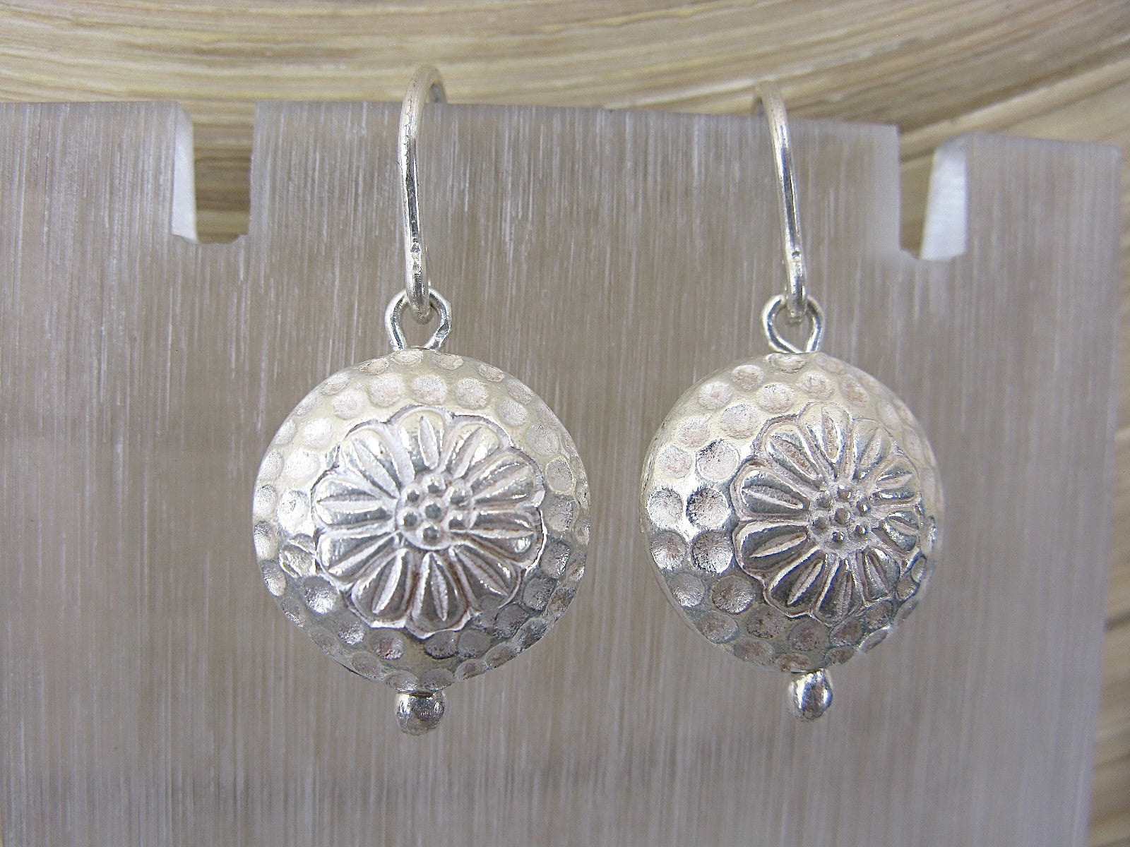3D Round Tribal Disc Dangle 925 Sterling Silver Earrings Earrings - Faith Owl