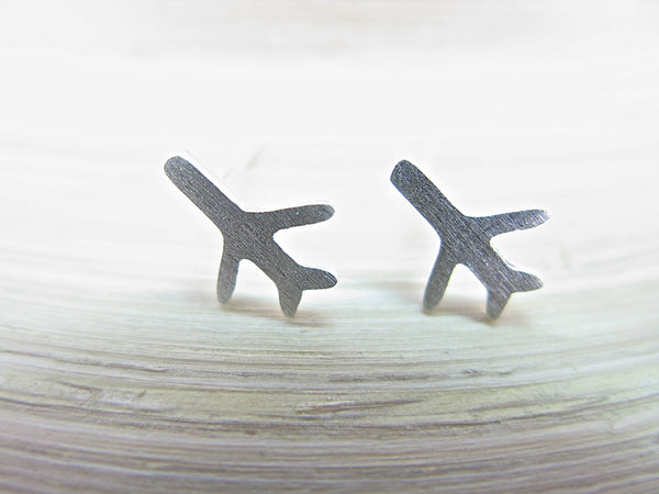 Airplane Stud Earrings in 925 Sterling Silver Stud - Faith Owl