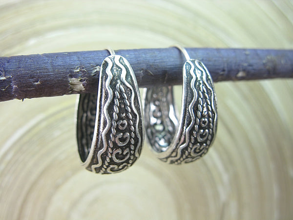 Balinese Engrave Dangle 925 Sterling Silver Silver Hoop Earrings Earrings - Faith Owl