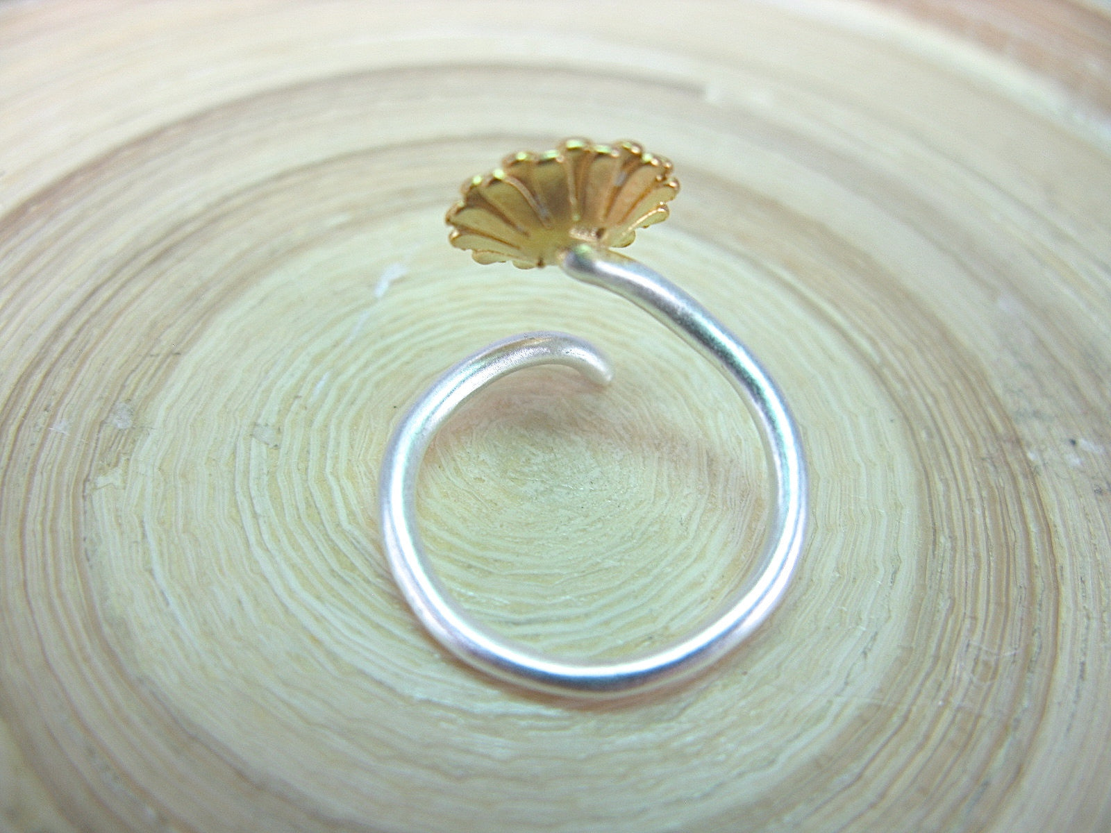 Sunflower Two Tone 925 Sterling Silver Ring