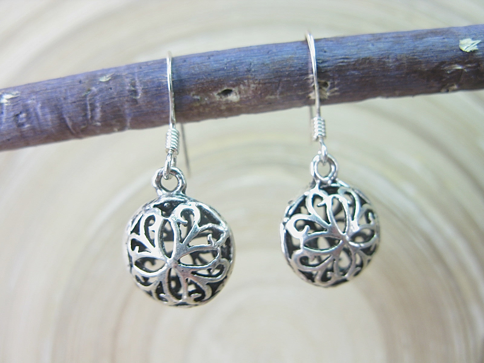 Filigree Lace Round Dangle Drop 925 Sterling Silver Earrings Earrings - Faith Owl